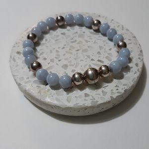 Sterling silver & Blue lace agate bracelet
